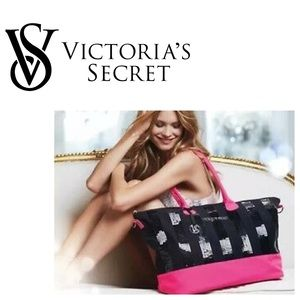 Victoria's Secret Pink/Black Sequin Extra Lrg Tote
